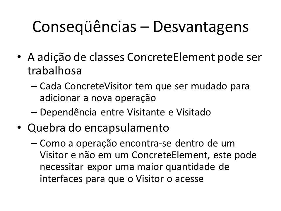 Conseqüências – Desvantagens A adição de classes ConcreteElement pode ser trabalhosa – Cada ConcreteVisitor tem que ser mudado para adicionar a nova o