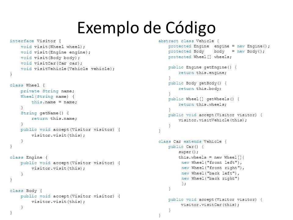Exemplo de Código abstract class Vehicle { protected Engine engine = new Engine(); protected Body body = new Body(); protected Wheel[] wheels; public