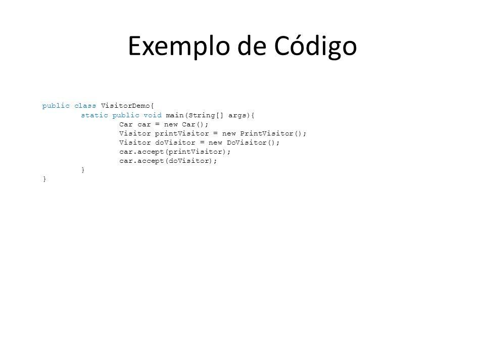 Exemplo de Código public class VisitorDemo{ static public void main(String[] args){ Car car = new Car(); Visitor printVisitor = new PrintVisitor(); Vi