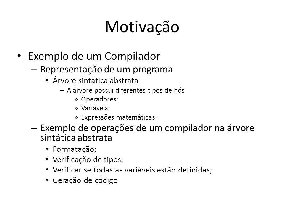 Motivação Exemplo de um Compilador – Representação de um programa Árvore sintática abstrata – A árvore possui diferentes tipos de nós » Operadores; »