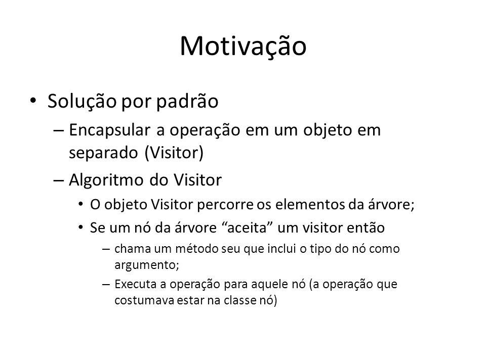 Exemplo de Código public class VisitorDemo{ static public void main(String[] args){ Car car = new Car(); Visitor printVisitor = new PrintVisitor(); Visitor doVisitor = new DoVisitor(); car.accept(printVisitor); car.accept(doVisitor); }