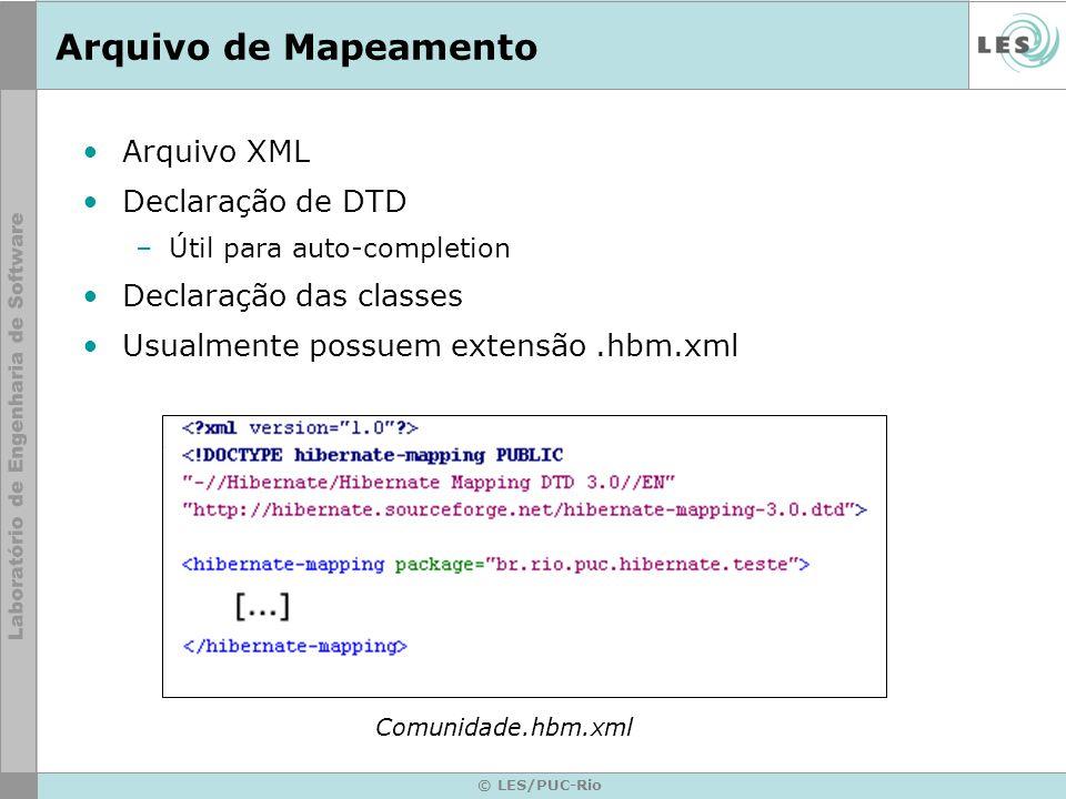© LES/PUC-Rio Arquivo de Mapeamento Arquivo XML Declaração de DTD –Útil para auto-completion Declaração das classes Usualmente possuem extensão.hbm.xm