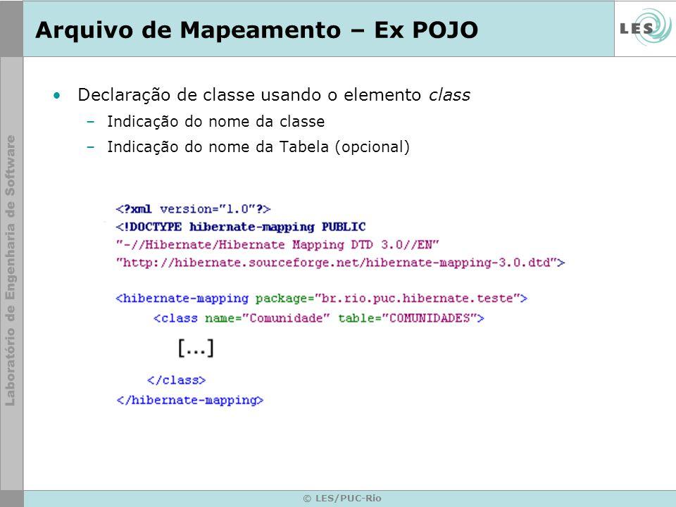 © LES/PUC-Rio Arquivo de Mapeamento – Ex POJO Declaração de classe usando o elemento class –Indicação do nome da classe –Indicação do nome da Tabela (