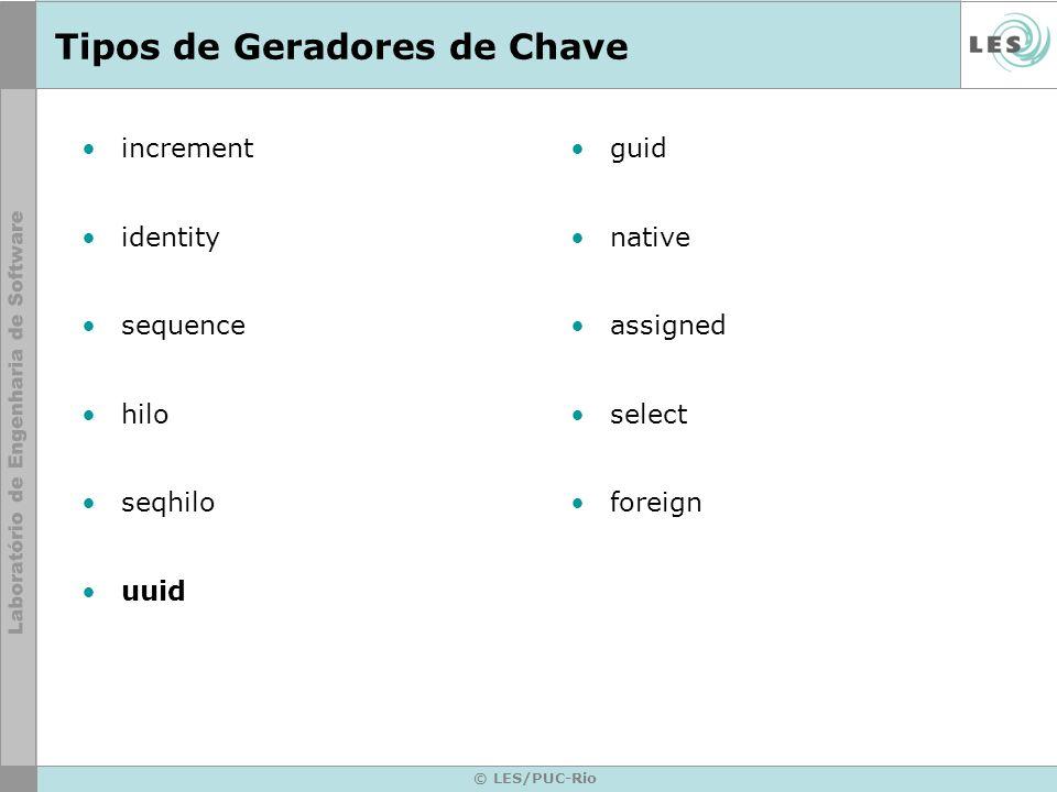© LES/PUC-Rio Tipos de Geradores de Chave increment identity sequence hilo seqhilo uuid guid native assigned select foreign