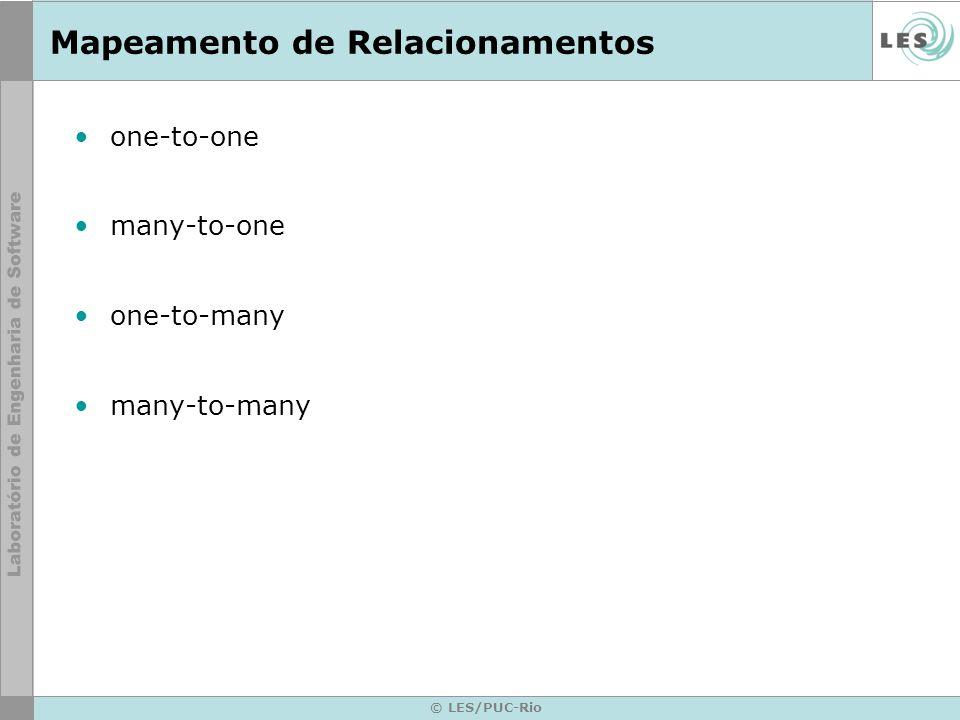 © LES/PUC-Rio Mapeamento de Relacionamentos one-to-one many-to-one one-to-many many-to-many