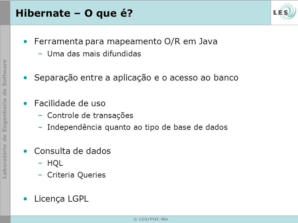 © LES/PUC-Rio Hibernate – O que é? Ferramenta para mapeamento O/R em Java –Uma das mais difundidas Separação entre a aplicação e o acesso ao banco Fac