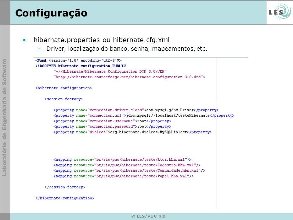 © LES/PUC-Rio Configuração hibernate.properties ou hibernate.cfg.xml –Driver, localização do banco, senha, mapeamentos, etc.