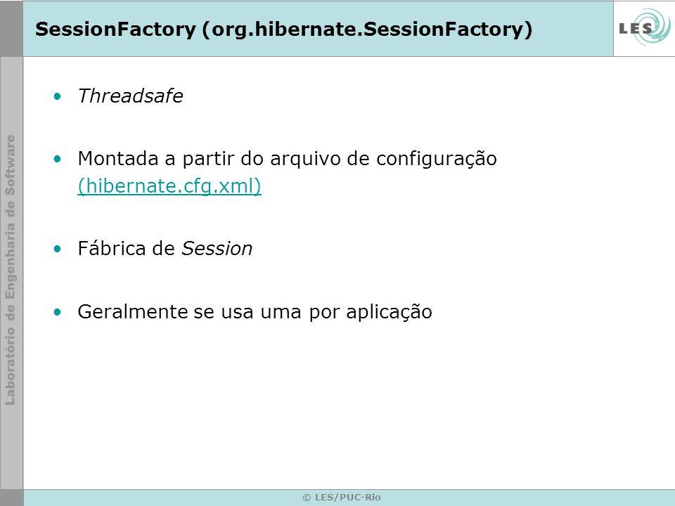© LES/PUC-Rio SessionFactory (org.hibernate.SessionFactory) Threadsafe Montada a partir do arquivo de configuração (hibernate.cfg.xml) (hibernate.cfg.