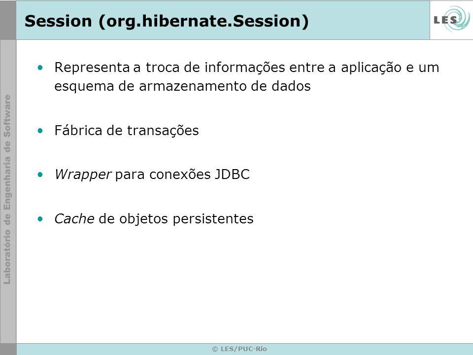 © LES/PUC-Rio Session (org.hibernate.Session) Representa a troca de informações entre a aplicação e um esquema de armazenamento de dados Fábrica de tr