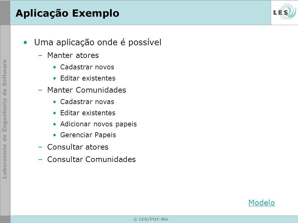 © LES/PUC-Rio Aplicação Exemplo Uma aplicação onde é possível –Manter atores Cadastrar novos Editar existentes –Manter Comunidades Cadastrar novas Edi