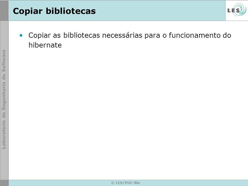 © LES/PUC-Rio Copiar bibliotecas Copiar as bibliotecas necessárias para o funcionamento do hibernate
