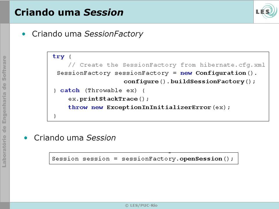 © LES/PUC-Rio Criando uma Session Criando uma SessionFactory Criando uma Session