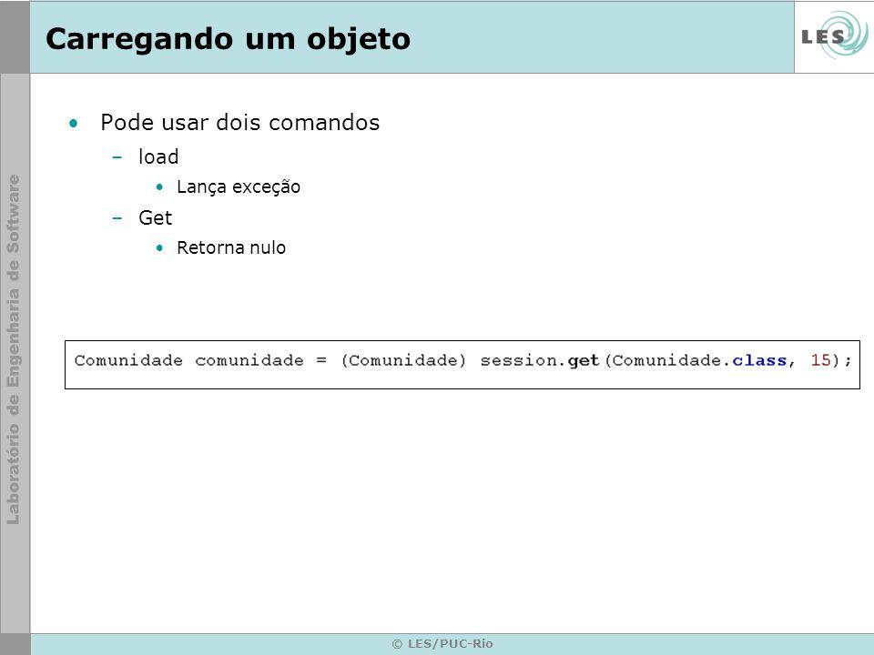 © LES/PUC-Rio Carregando um objeto Pode usar dois comandos –load Lança exceção –Get Retorna nulo