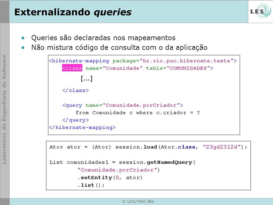© LES/PUC-Rio Externalizando queries Queries são declaradas nos mapeamentos Não mistura código de consulta com o da aplicação