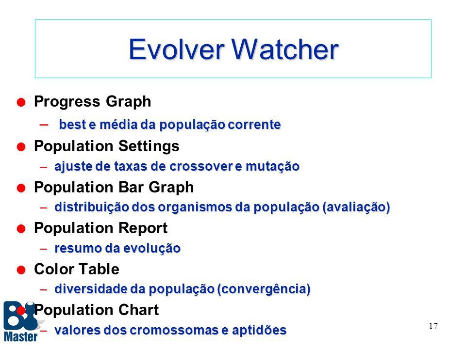 16 Visualização de Resultados l Evolver Watcher – ferramenta stand-alone com várias funções l Evolver Log – arquivo com resultados para relatório, com