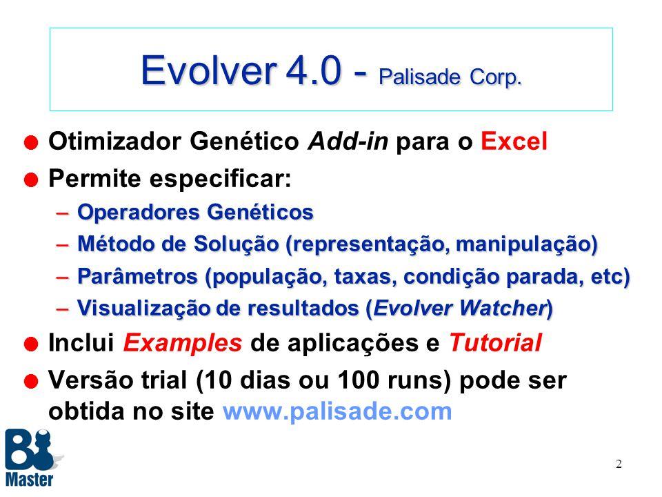 1 Evolver 4.0 Introdução ao Uso da Ferramenta Prof. Marco Aurélio C. Pacheco