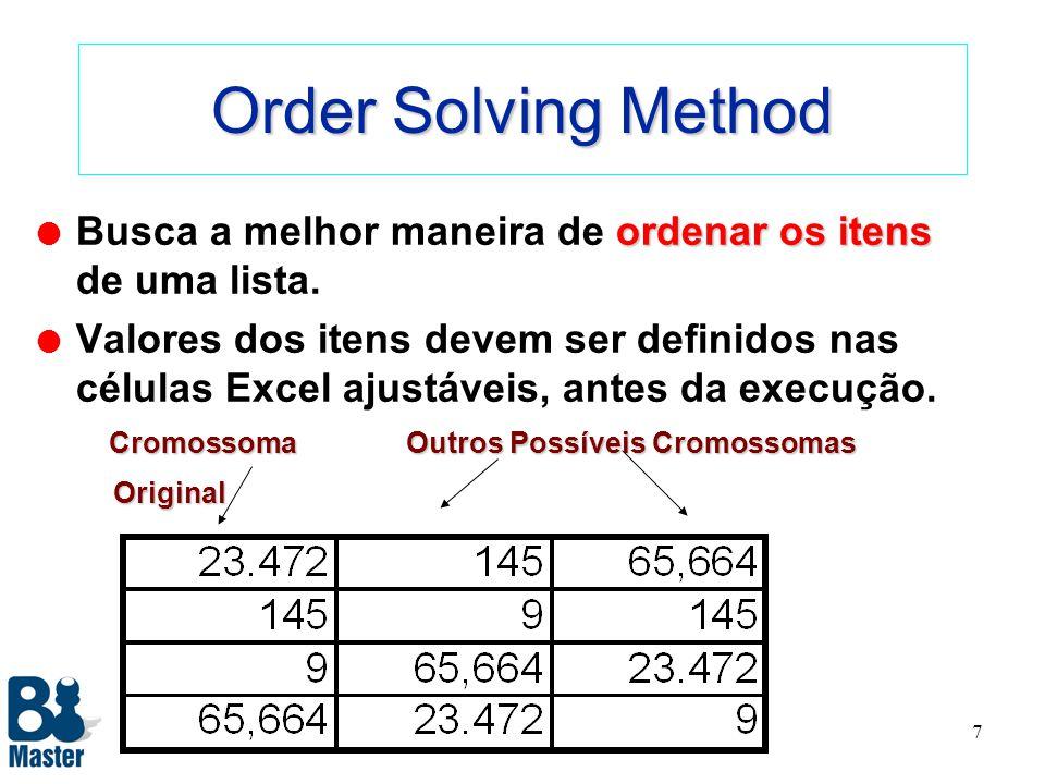 6 Recipe Solving method ajustadas independentemente l Método Receita de Bolo onde as variáveis podem ser ajustadas independentemente umas das outras.