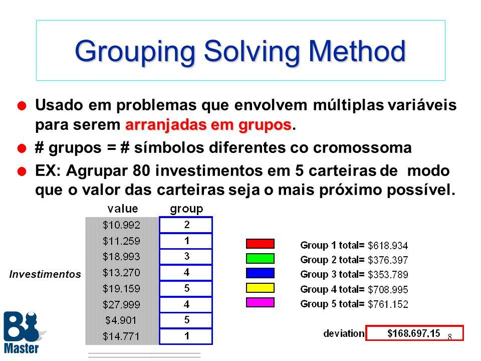 7 Order Solving Method ordenar os itens l Busca a melhor maneira de ordenar os itens de uma lista. l Valores dos itens devem ser definidos nas células