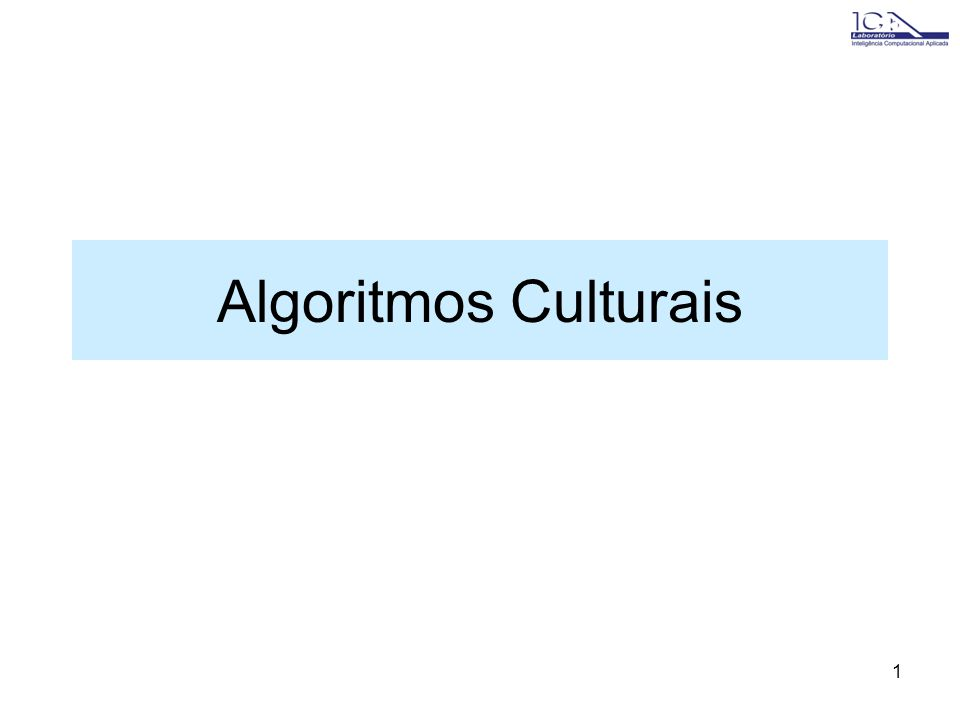 1 Algoritmos Culturais