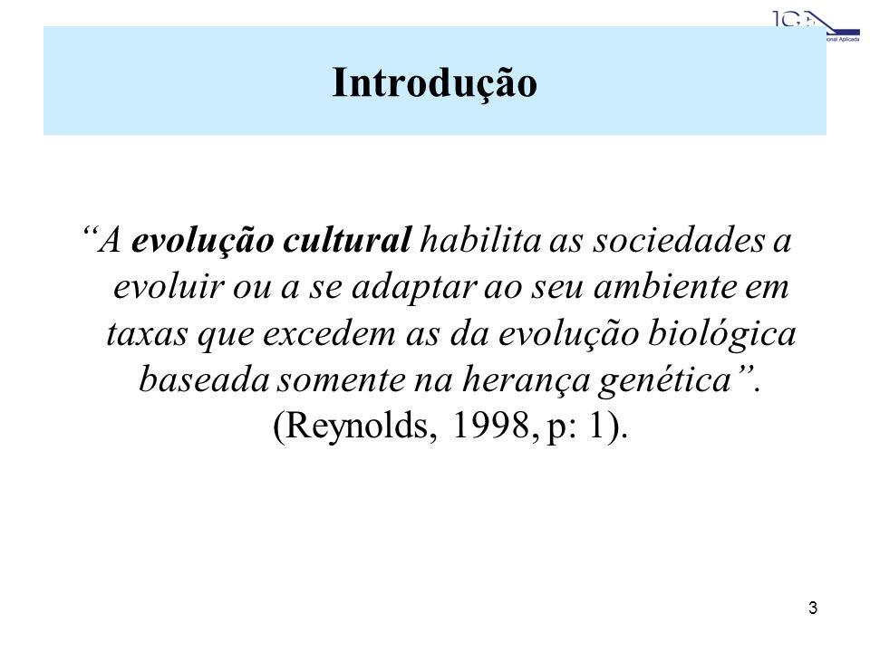 3 Introdução A evolução cultural habilita as sociedades a evoluir ou a se adaptar ao seu ambiente em taxas que excedem as da evolução biológica baseada somente na herança genética.