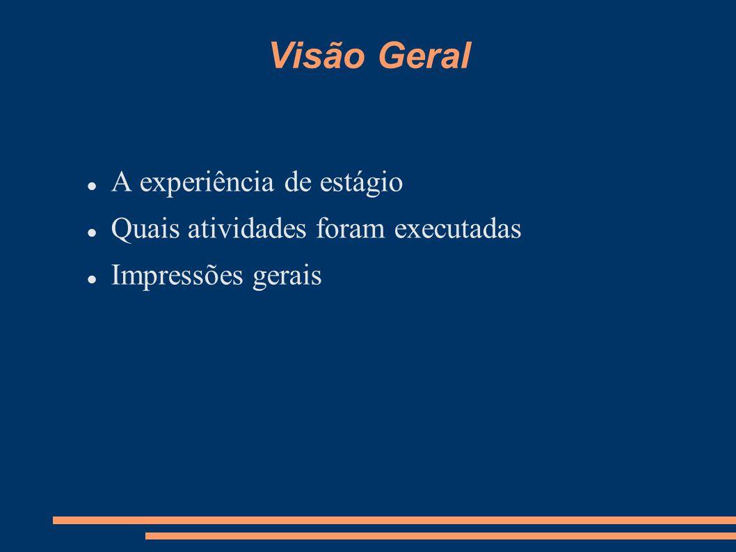 Visão Geral A experiência de estágio Quais atividades foram executadas Impressões gerais