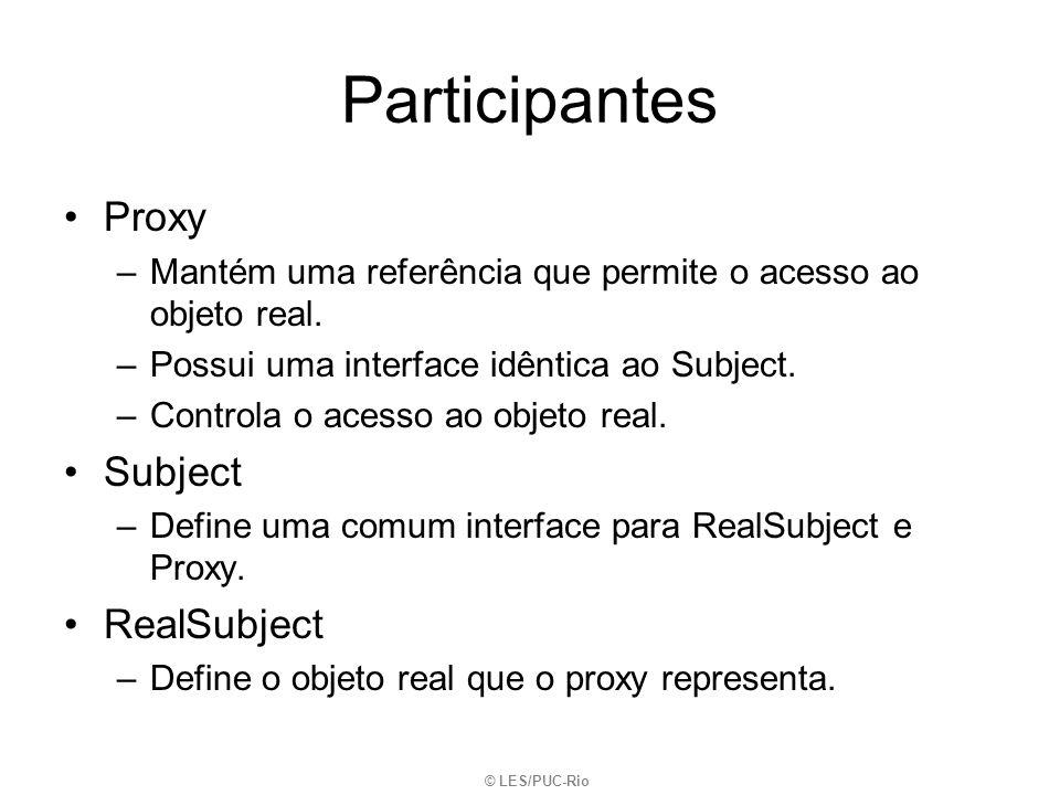 Participantes Proxy –Mantém uma referência que permite o acesso ao objeto real. –Possui uma interface idêntica ao Subject. –Controla o acesso ao objet