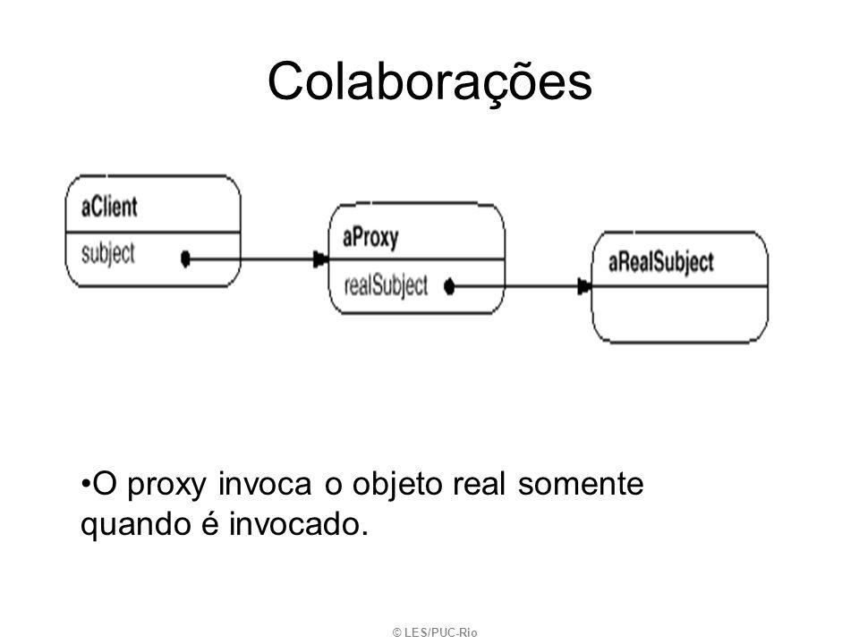 Colaborações © LES/PUC-Rio O proxy invoca o objeto real somente quando é invocado.