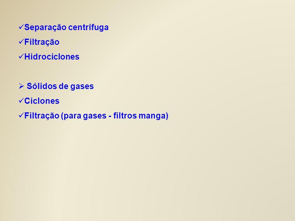 Separação centrífuga Filtração Hidrociclones Sólidos de gases Ciclones Filtração (para gases - filtros manga)