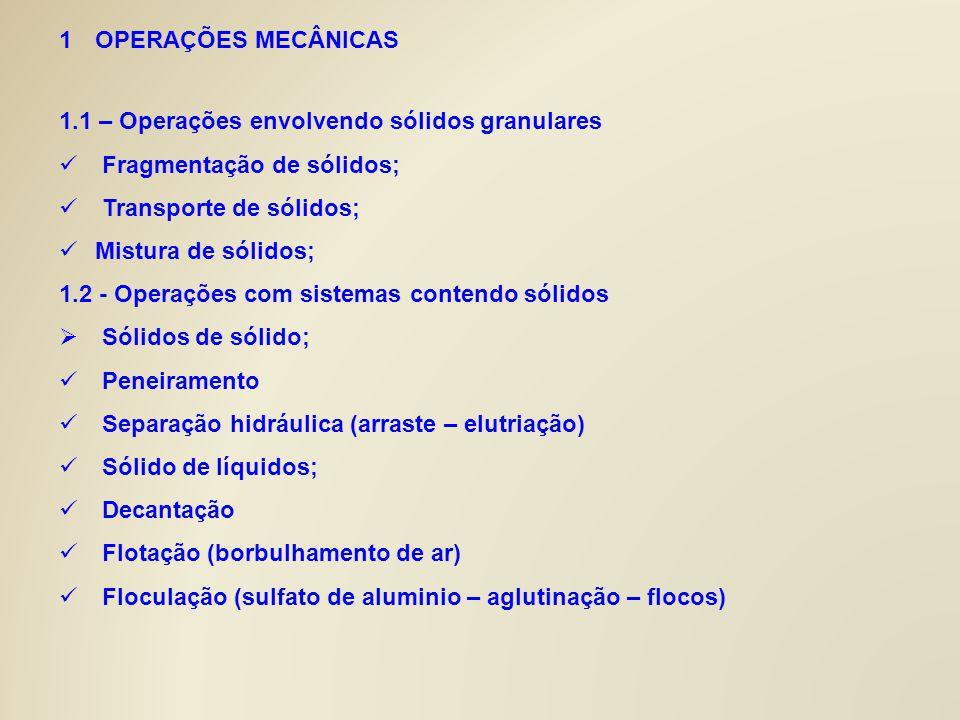 1OPERAÇÕES MECÂNICAS 1.1 – Operações envolvendo sólidos granulares Fragmentação de sólidos; Transporte de sólidos; Mistura de sólidos; 1.2 - Operações