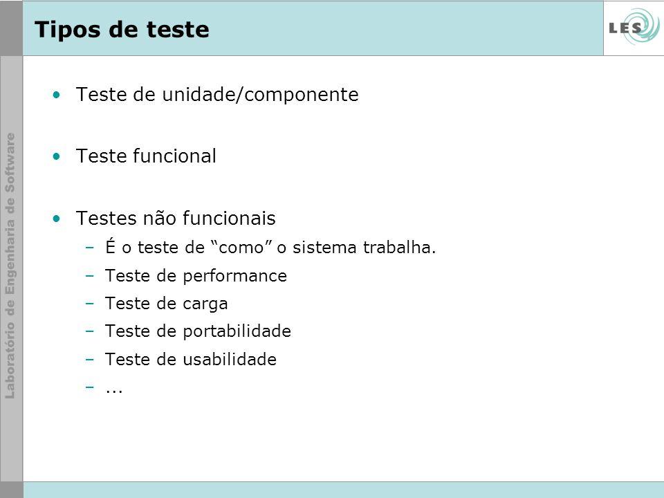 Tipos de teste Teste de unidade/componente Teste funcional Testes não funcionais –É o teste de como o sistema trabalha. –Teste de performance –Teste d