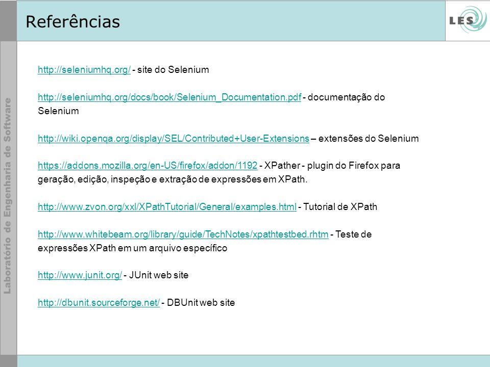 http://seleniumhq.org/http://seleniumhq.org/ - site do Selenium http://seleniumhq.org/docs/book/Selenium_Documentation.pdfhttp://seleniumhq.org/docs/b