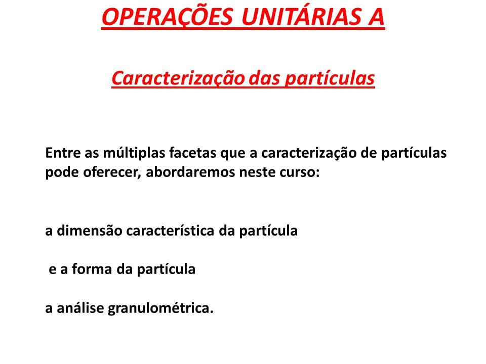 Caracterização primária 1- Dimensão característica: As maneiras de caracterizar a dimensão de uma partícula e os métodos para sua obtenção.