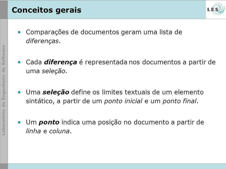 Conceitos gerais Comparações de documentos geram uma lista de diferenças. Cada diferença é representada nos documentos a partir de uma seleção. Uma se