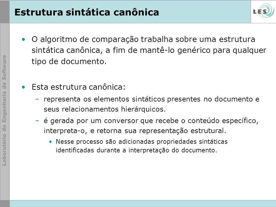 Estrutura sintática canônica O algoritmo de comparação trabalha sobre uma estrutura sintática canônica, a fim de mantê-lo genérico para qualquer tipo