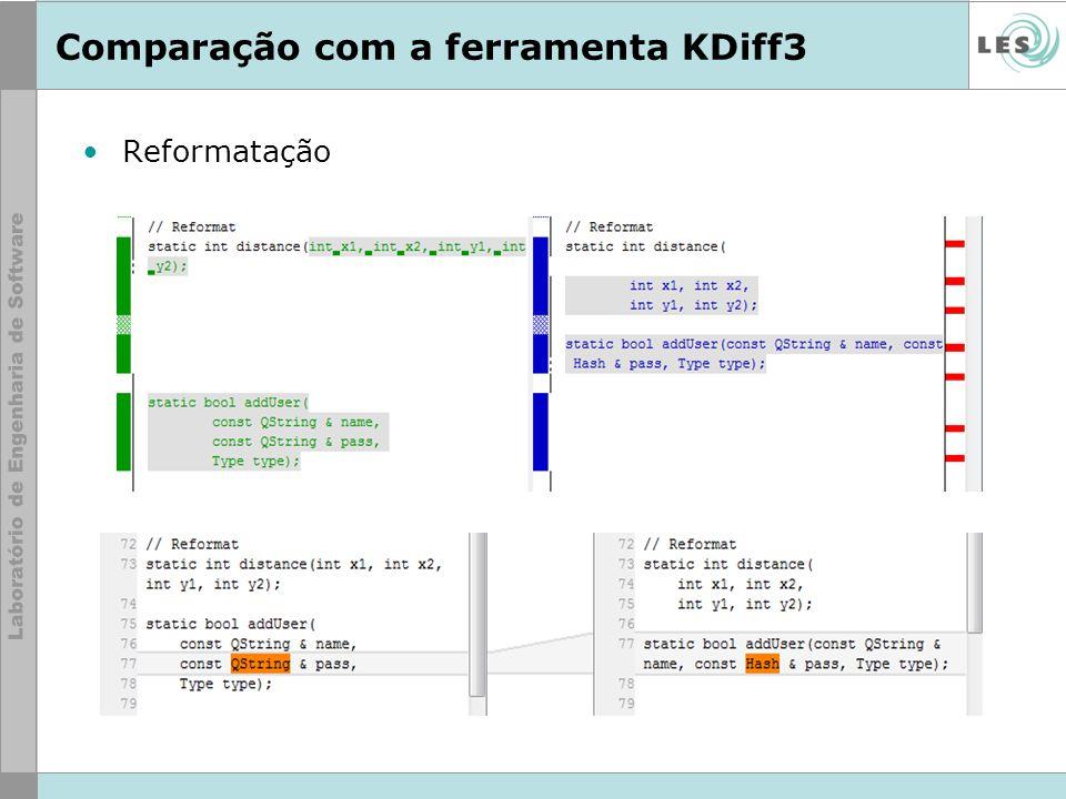 Comparação com a ferramenta KDiff3 Reformatação