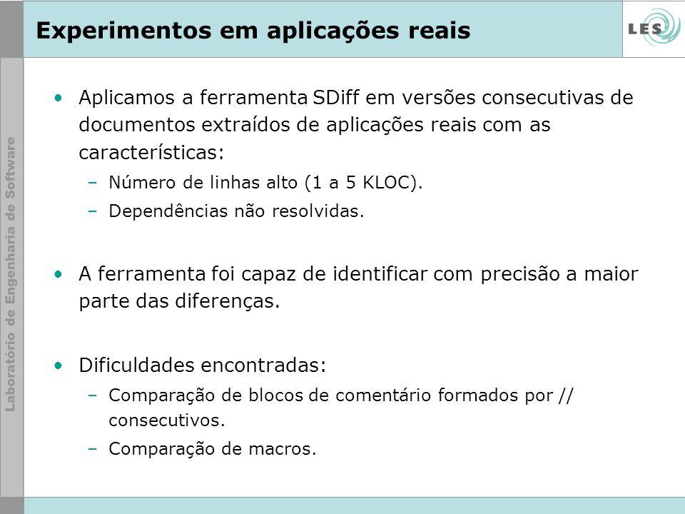 Experimentos em aplicações reais Aplicamos a ferramenta SDiff em versões consecutivas de documentos extraídos de aplicações reais com as característic