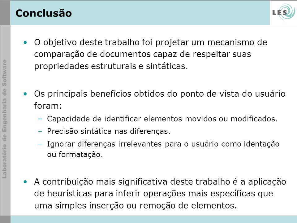 Conclusão O objetivo deste trabalho foi projetar um mecanismo de comparação de documentos capaz de respeitar suas propriedades estruturais e sintática