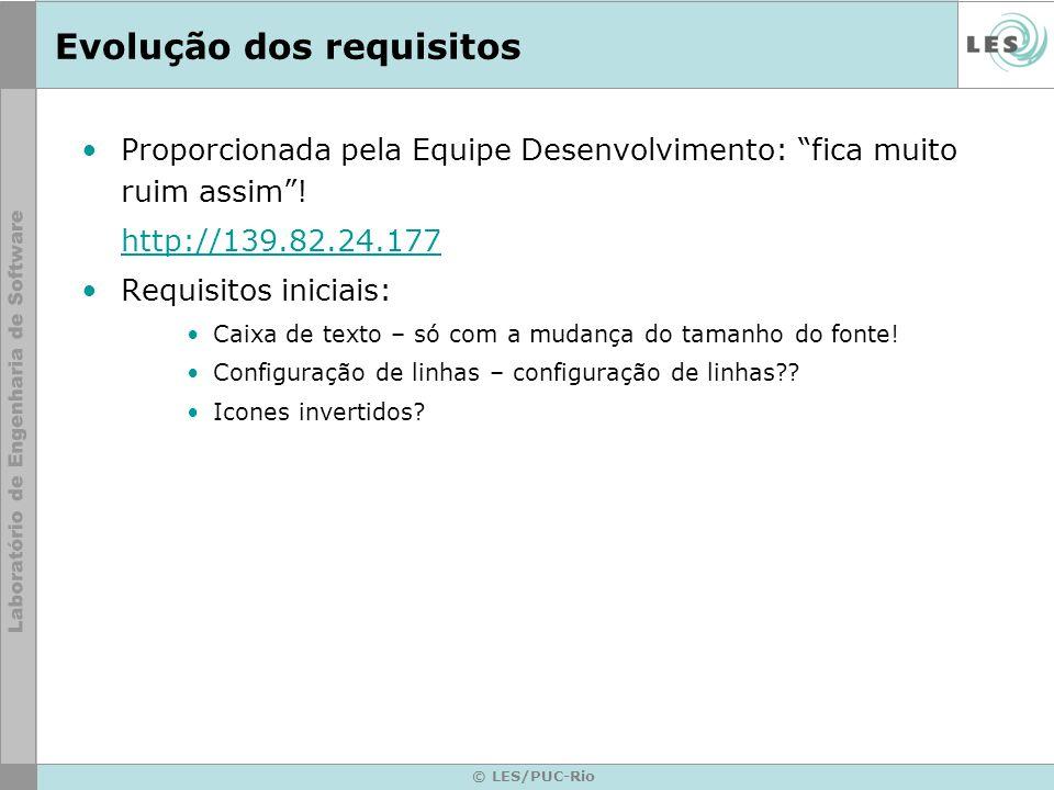 © LES/PUC-Rio Evolução dos requisitos Proporcionada pela Equipe Desenvolvimento: fica muito ruim assim! http://139.82.24.177 Requisitos iniciais: Caix