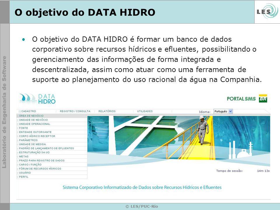 © LES/PUC-Rio O objetivo do DATA HIDRO O objetivo do DATA HIDRO é formar um banco de dados corporativo sobre recursos hídricos e efluentes, possibilitando o gerenciamento das informações de forma integrada e descentralizada, assim como atuar como uma ferramenta de suporte ao planejamento do uso racional da água na Companhia.