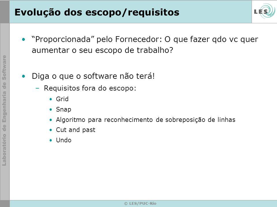 © LES/PUC-Rio Evolução dos escopo/requisitos Proporcionada pelo Fornecedor: O que fazer qdo vc quer aumentar o seu escopo de trabalho? Diga o que o so