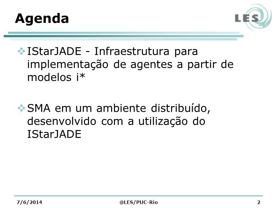 Agenda IStarJADE - Infraestrutura para implementação de agentes a partir de modelos i* SMA em um ambiente distribuído, desenvolvido com a utilização do IStarJADE 7/6/2014@LES/PUC-Rio2