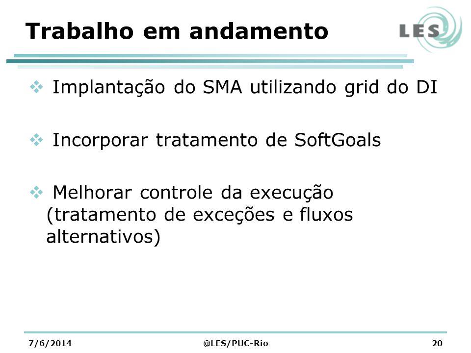 Trabalho em andamento Implantação do SMA utilizando grid do DI Incorporar tratamento de SoftGoals Melhorar controle da execução (tratamento de exceções e fluxos alternativos) 7/6/2014@LES/PUC-Rio20