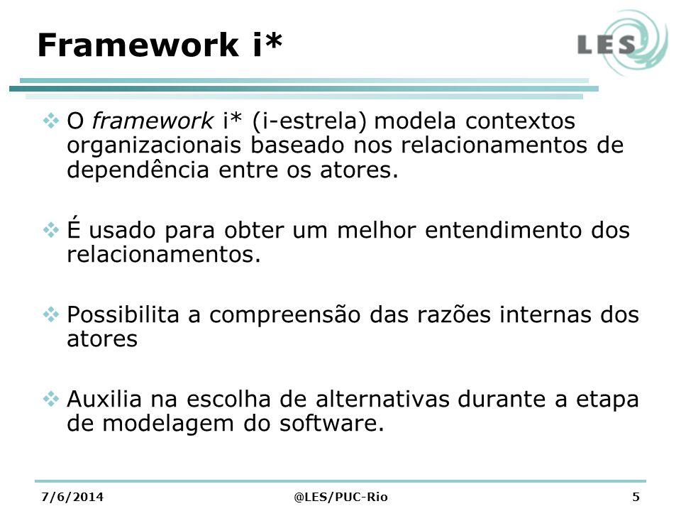 7/6/2014@LES/PUC-Rio5 Framework i* O framework i* (i-estrela) modela contextos organizacionais baseado nos relacionamentos de dependência entre os atores.