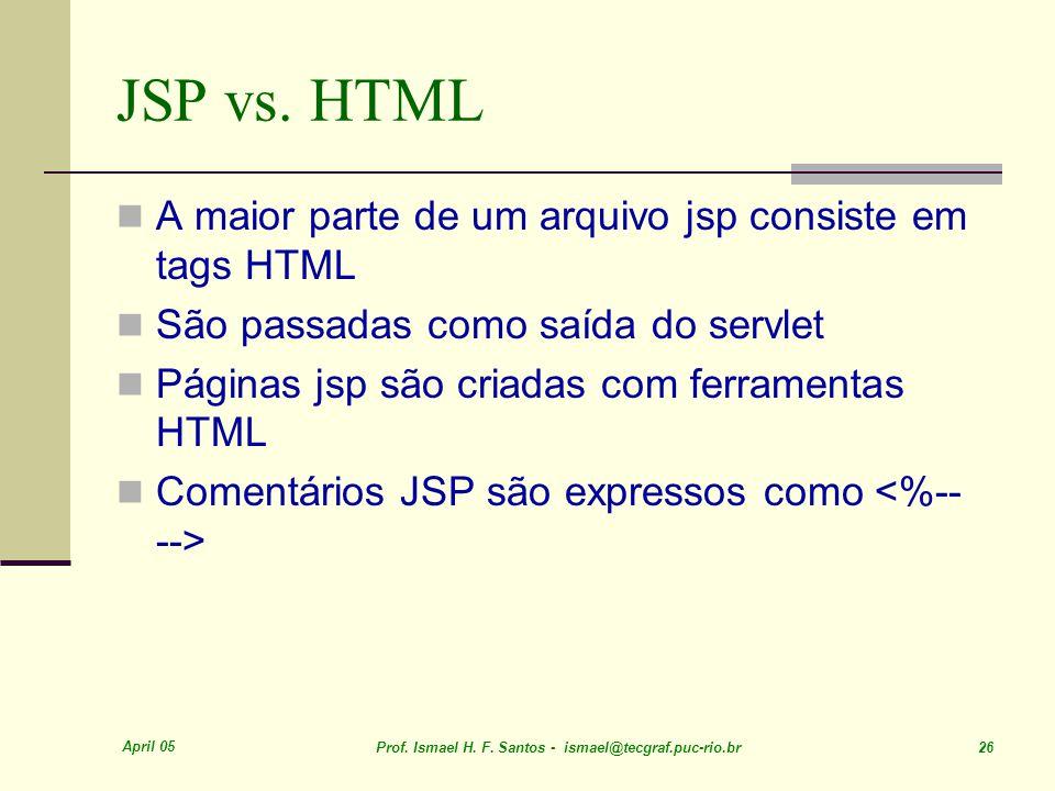April 05 Prof. Ismael H. F. Santos - ismael@tecgraf.puc-rio.br 26 JSP vs.