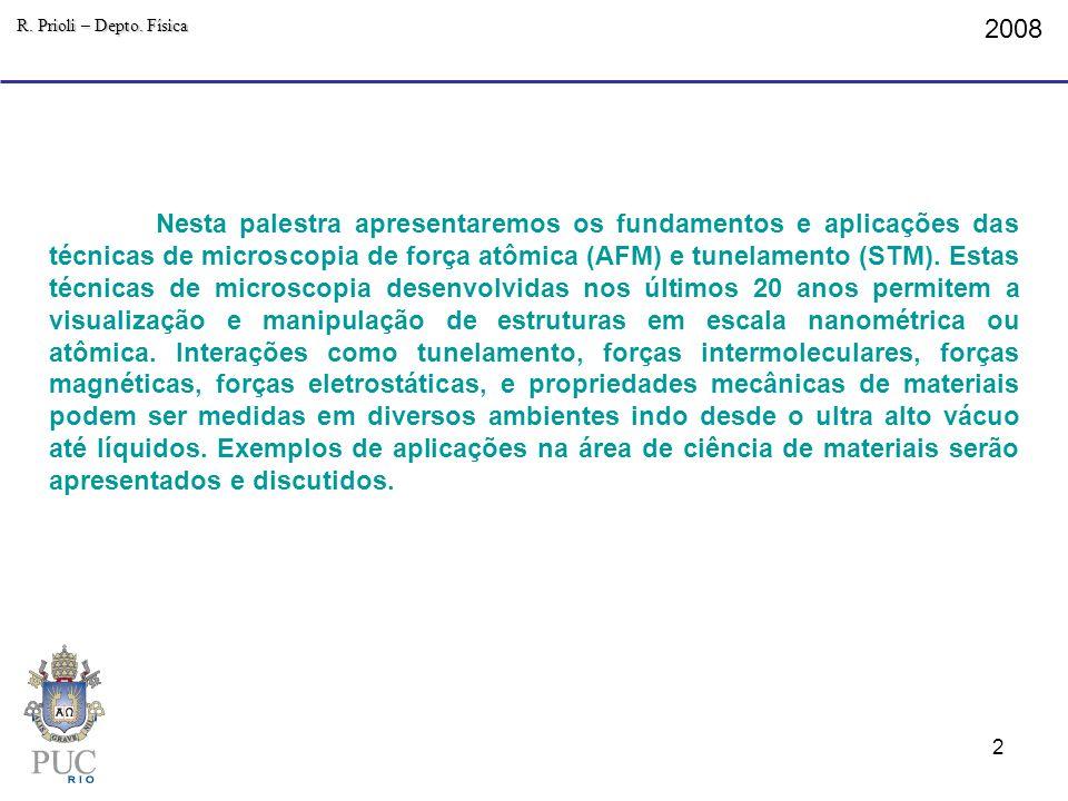 2008 R. Prioli – Depto. Física Nesta palestra apresentaremos os fundamentos e aplicações das técnicas de microscopia de força atômica (AFM) e tunelame
