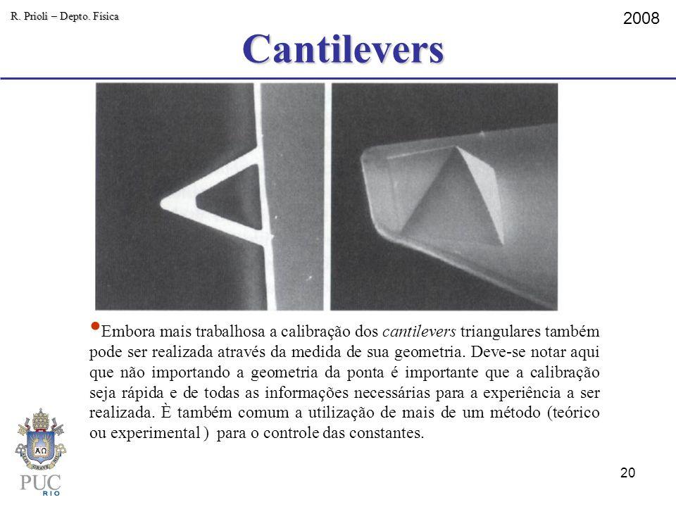 Cantilevers R. Prioli – Depto. Física 2008 Embora mais trabalhosa a calibração dos cantilevers triangulares também pode ser realizada através da medid