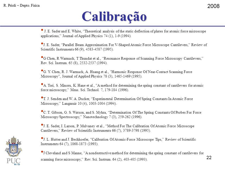Calibração R. Prioli – Depto. Física 2008 J. E. Sader and E. White, Theoretical analysis of the static deflection of plates for atomic force microscop