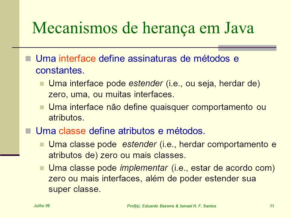 Julho 06 Prof(s). Eduardo Bezerra & Ismael H. F. Santos 11 Mecanismos de herança em Java Uma interface define assinaturas de métodos e constantes. Uma