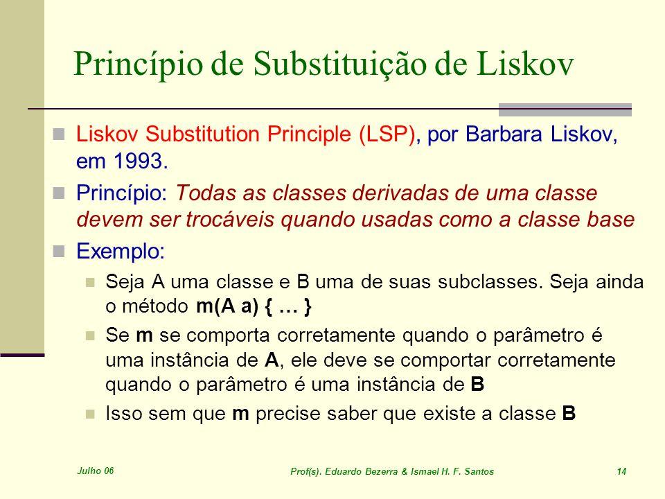Julho 06 Prof(s). Eduardo Bezerra & Ismael H. F. Santos 14 Princípio de Substituição de Liskov Liskov Substitution Principle (LSP), por Barbara Liskov