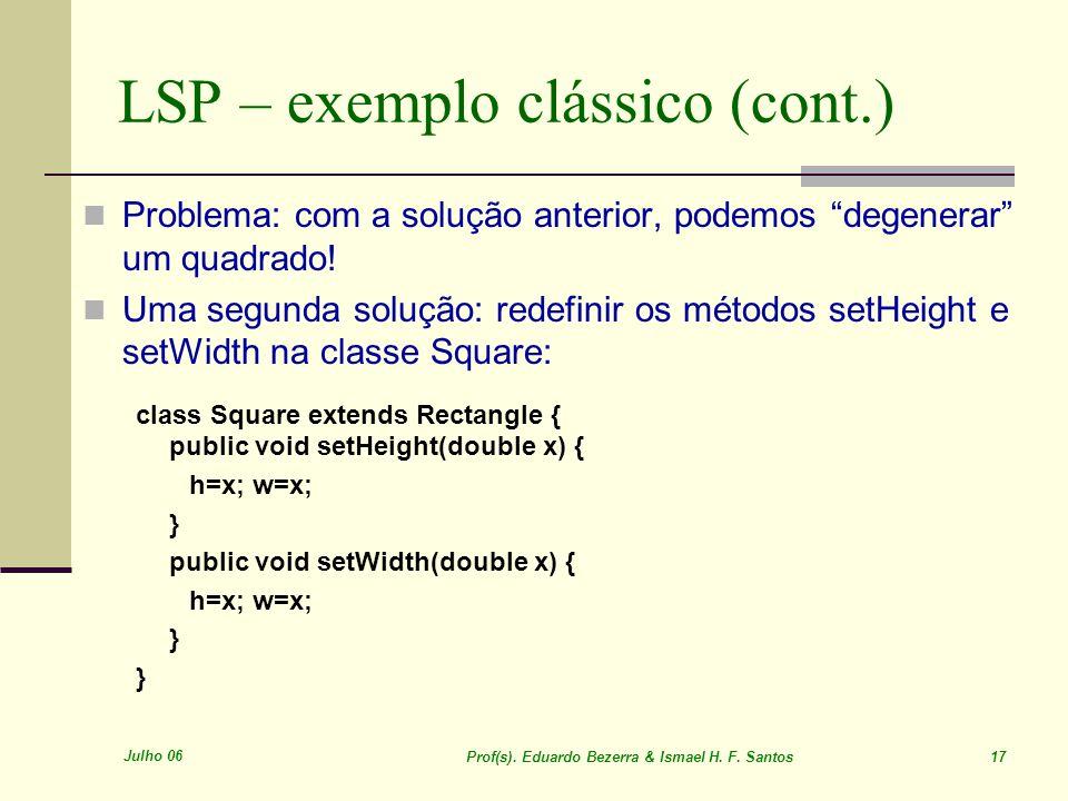 Julho 06 Prof(s). Eduardo Bezerra & Ismael H. F. Santos 17 LSP – exemplo clássico (cont.) Problema: com a solução anterior, podemos degenerar um quadr
